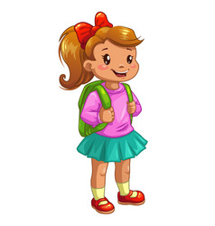 Little cute girl with knapsack vector