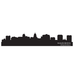 Madison Wisconsin skyline Detailed city silhouette vector image