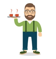Man holding a tray with two cups of hot coffee or vector image