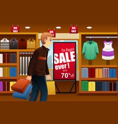 Man shopping at shopping mall vector