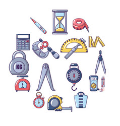 Measure precision icons set cartoon style vector