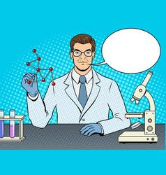 Medical chemist scientist pop art vector