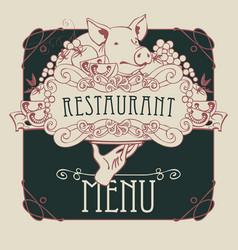 Menu with hand tray still life and pigs head vector