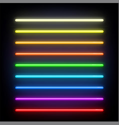 Neon brushes set set of colorful light objects on vector