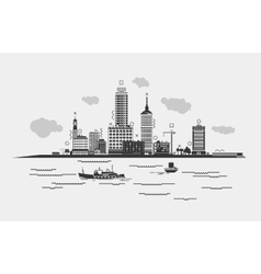 Outline panorama of a metropolis or city with sea vector