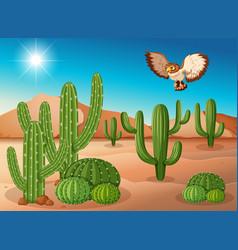 Owl flying over cactus in desert vector