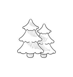 Pine trees sketch icon vector image