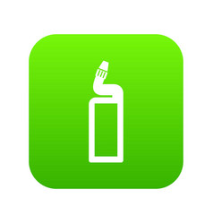 plastic bottle of drain cleaner icon digital green vector image