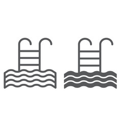 pool line and glyph icon swim and water ladder vector image