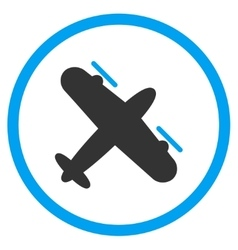 Propeller aircraft circled icon vector