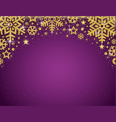 Purple christmas card with frame of golden vector