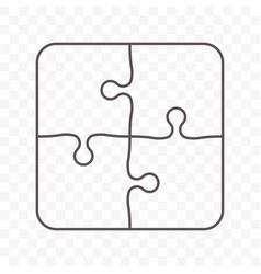 Puzzle icon of four pieces jigsaw game icon vector