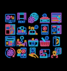 Renting movies service neon glow icon vector