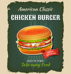 Retro fast food chicken burger poster vector