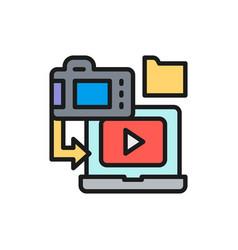 saving film to laptop cinema strip flat color vector image