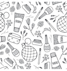 seamless beauty cosmetics doodle pattern vector image