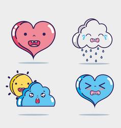 Set cute kawaii faces expression vector