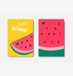 set hello sunshine watermelon badge isolated vector image