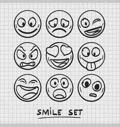 set of cartoon emoji sketch emoji vector image