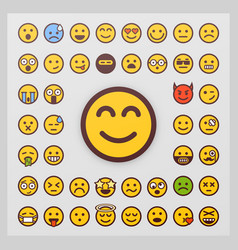 Set of emoticon isolated on white vector