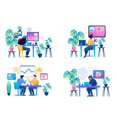 set web design with a workplace for creative vector image