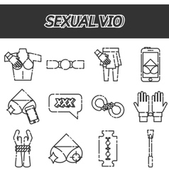 Sexual vio icons set vector image