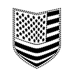 Shield of flag united states of america black vector