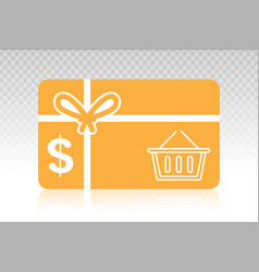 Shopping gift card flat icon on a transparent vector
