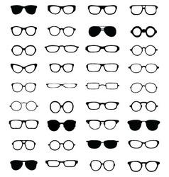 silhouettes eyeglasses vector image