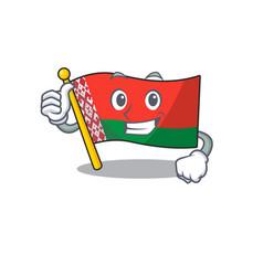 Smiling thumbs up flag belarus cartoon character vector