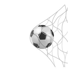 Soccer football ball in goal net isolated on white vector