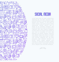 social media concept with thin line icons vector image
