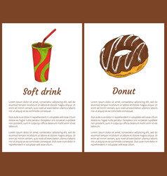 soft drink with ice and tasty round donut banner vector image