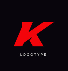 Speed letter k red race monogram logo italic vector