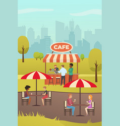 Street cafe or summer bar in city park flat vector