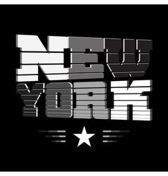 T shirt New York black white gray star vector image