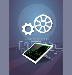 tablet computer responsive design financial graph vector image