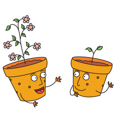 talking happy flower pots vector image
