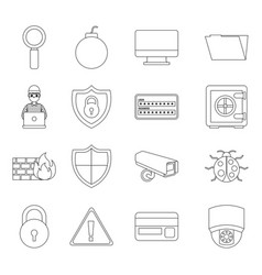 Theft identity technology digital set icons vector