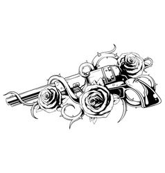 Vintage revolver with roses tattoo vector