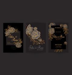 wedding invitation card set with peony flowers vector image