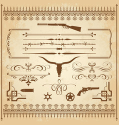 Wild west ornaments vector