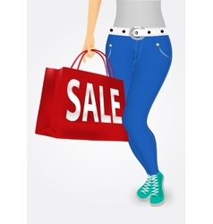 woman legs with shopping bags vector image