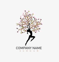 Woman tree logo vector