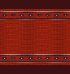 Wool knitted pattern with blue hearts on red vector