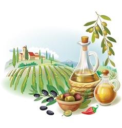 Bottles with Olive oil and rural landscape vector image