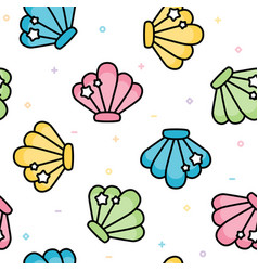 cute sea shell pastel seamless pattern vector image vector image