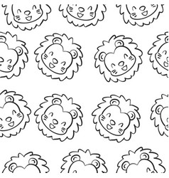 doodle lion animal design collection vector image