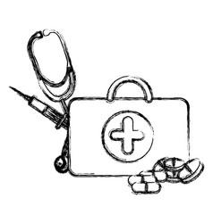 profile suitcase health with stethoscope syringe vector image