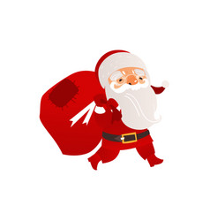 santa claus carrying bag with christmas presents vector image vector image